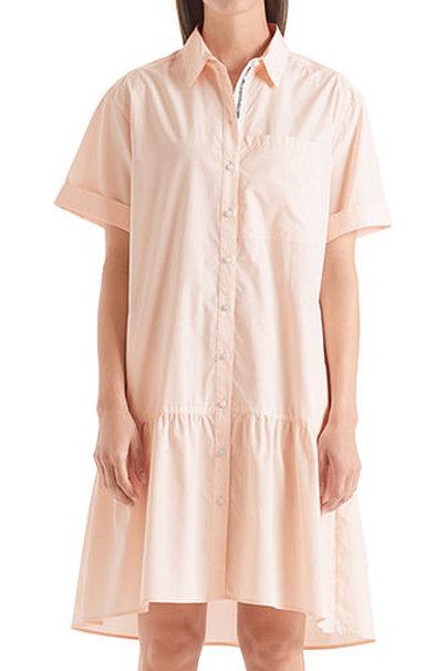 Bladoróżowa sukienka koszulowa z falbaną Marc Cain