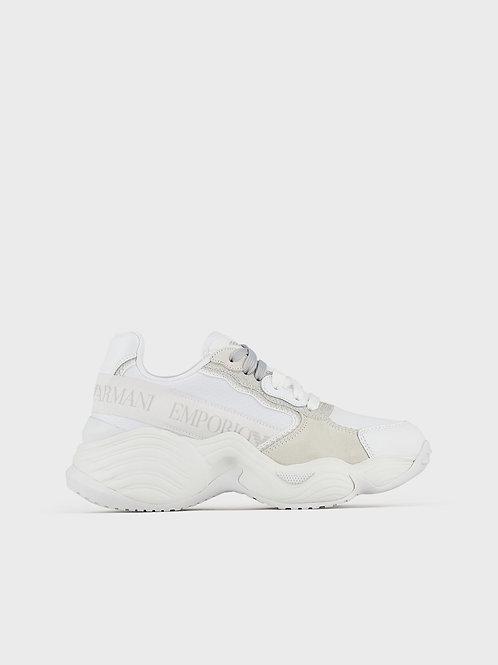 Białe sneakersy z kontrastującymi wstawkami Emporio Armani