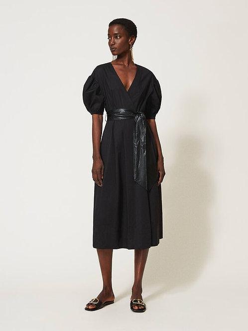 Bawełniana sukienka midi z paskiem i bufiastymi rękawami TWINSET