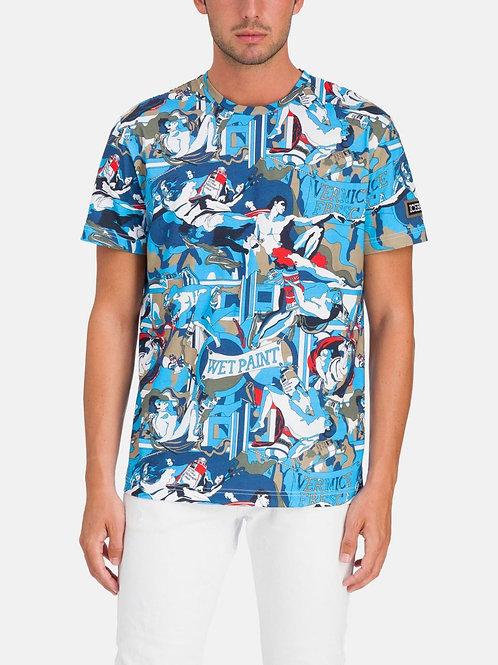 """Niebieski t-shirt """"Stworzenie Adama"""" ICEBERG"""