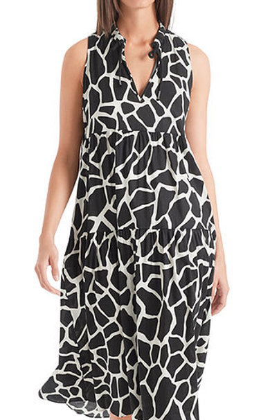 "Lniana sukienka z nadrukiem ""Giraffe"" Marc Cain"