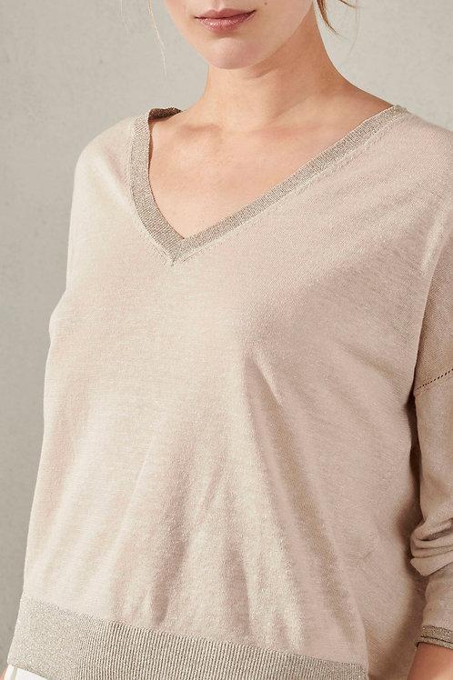 Beżowy sweter z domieszką lnu Luisa Cerano