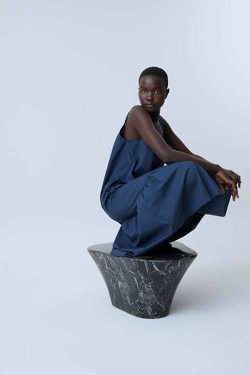 Granatowa sukienka midi z bawełny organicznej Closed