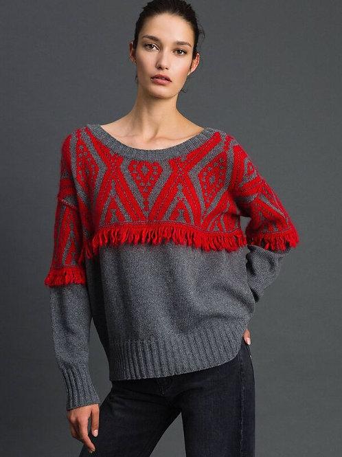 Sweter maxi z motywem etnicznym TWINSET
