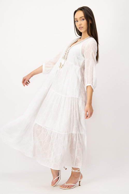 Długa haftowana sukienka LOUIS and MIA