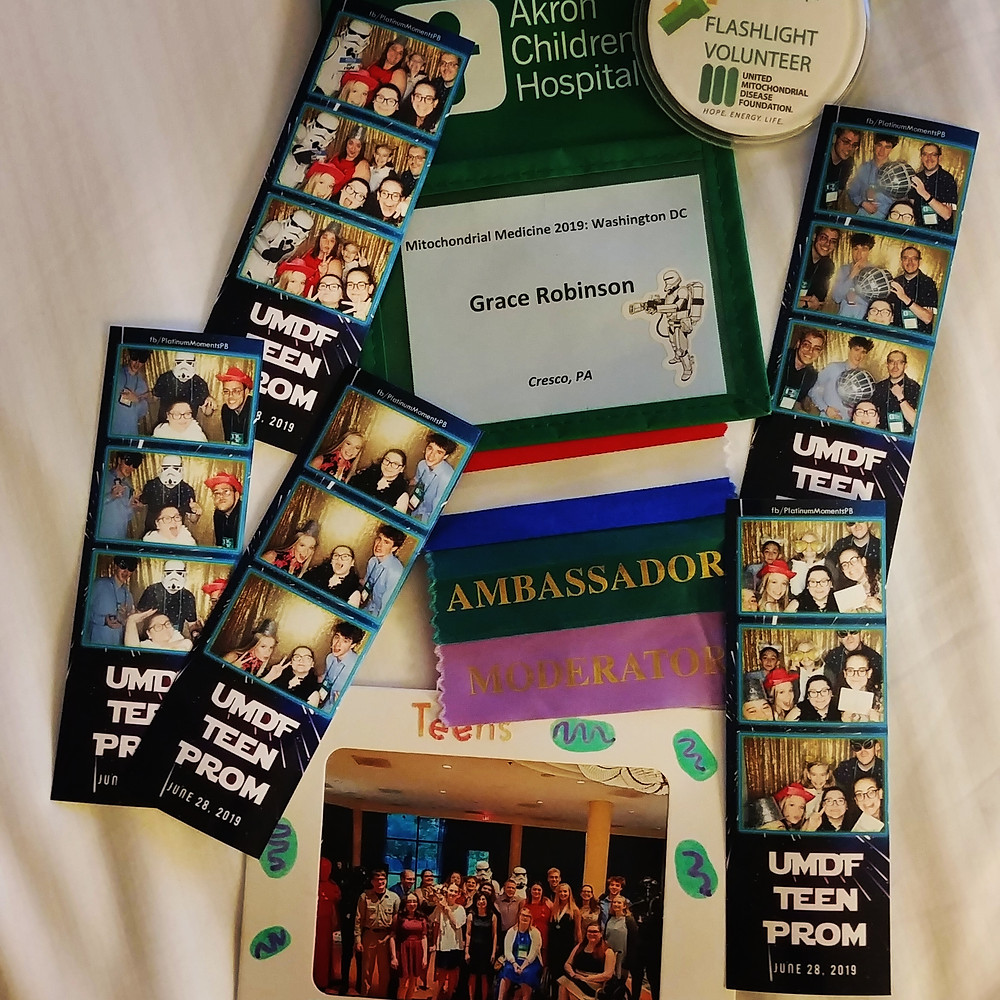 Image Description: A photo of a name tag and pictures from the 2019 UMDF Symposium. The name tag belongs to Grace Robinson and the photos are from Mito Prom.