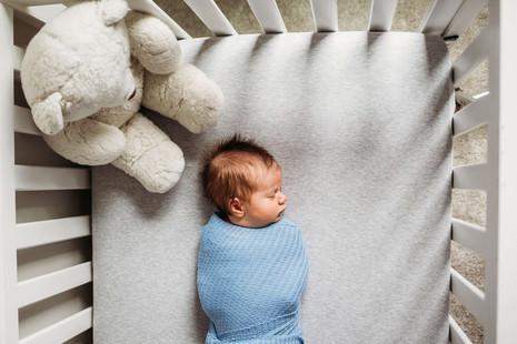 Newborn in crib with dad's stuffed animal.