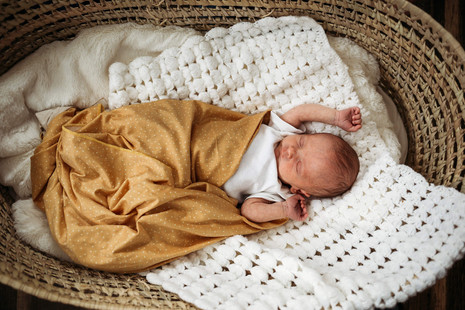 Baby in a moses basket during newborn photos in Hamburg, NY.