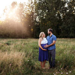 Blue maternity session at Amherst State Park.
