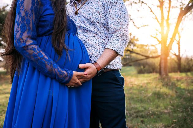 Dramatic blue maternity dress at Knox Farm.