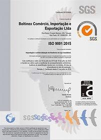 Certificado ISO 9001 2015 Validade 2020