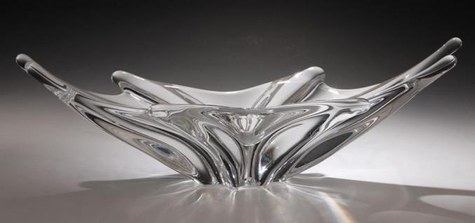 Coupe en cristal forme navette année 50