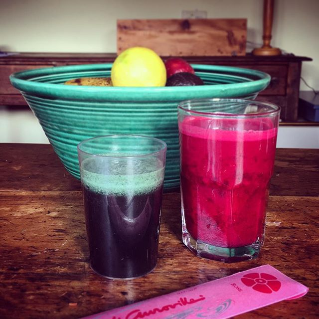 Our eighteenth! and last juice this week- beetroot, carrot, lemon, ginger, with a sea green spirulina chaser, made totally palatable with a tiny piece of blended banana.