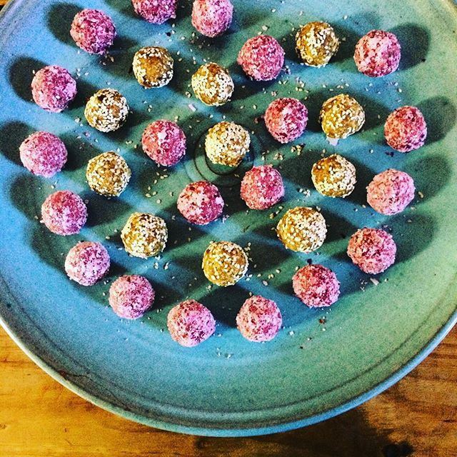 The Whole Truth Retreat bliss ball (pink) created especially for us by raw chef Fili Harrington: macadamia- rooibos- rose petal- lemon zest- wow!