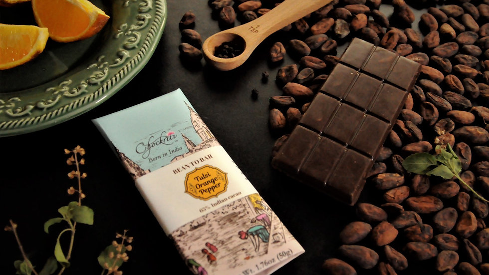 Indian Bean to bar dark chocolate in Tulsi Orange Pepper flavor