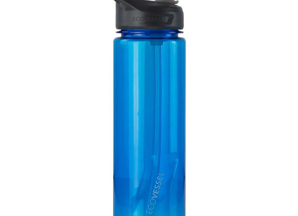Ecovessel THE NEW WAVE - BPA FREE SPORTS WATER BOTTLE WITH STRAW - 24 OZ