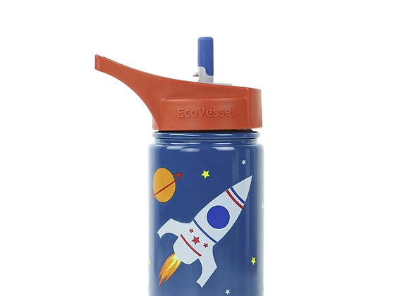 Ecovessel THE SCOUT - STAINLESS STEEL STRAW WATER BOTTLE FOR KIDS - 13 OZ
