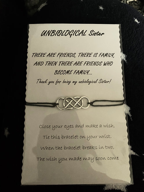 Unbiological sister wish bracelet