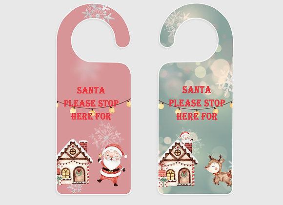 Santa Stop here door signs