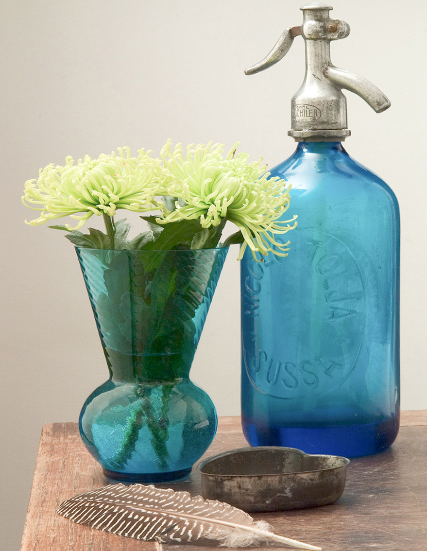 Flowers and antique soda syphon