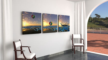 Beach Ball sunset_triotych 1m sq.jpg
