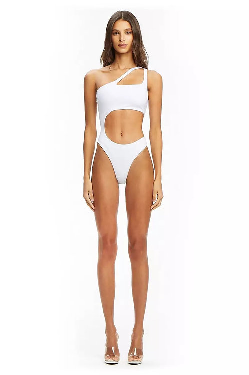Sexy White Cutout one shoulder swimsuit