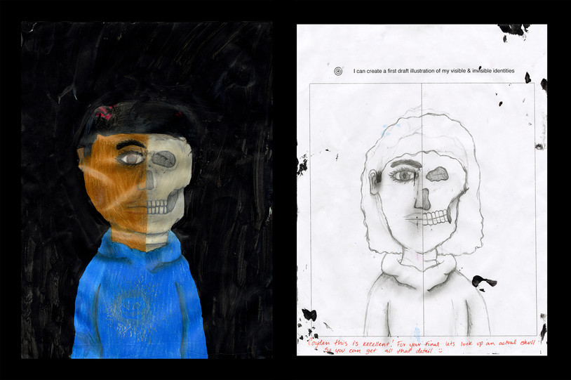Creator: Cayden Golston Project: Identity Creation Date: 2020 Medium: graphite, acrylic paint, color pencil and marker on paper Dimension: 17 x 11 inch School: Detroit Achievement Academy Grade: 6th-7th grade
