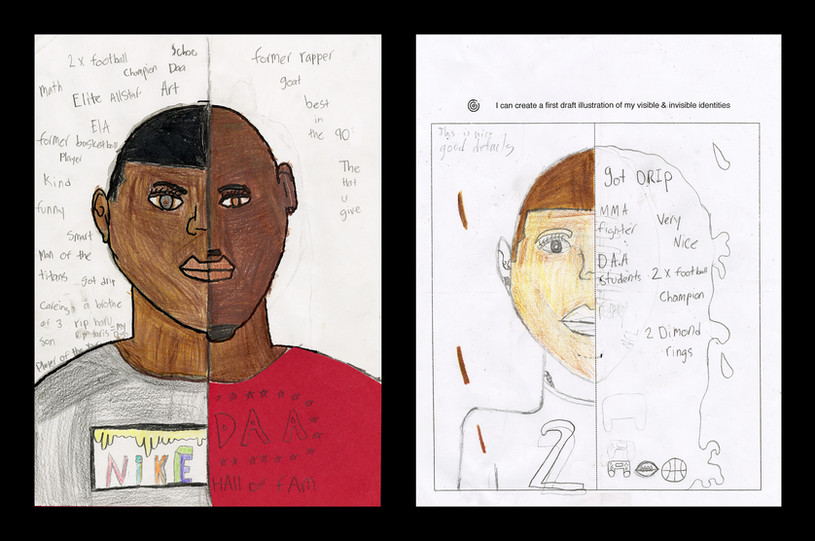 Creator: Bralyn Brown Project: Identity Creation Date: 2020 Medium: graphite, acrylic paint, color pencil and marker on paper Dimension: 17 x 11 inch School: Detroit Achievement Academy Grade: 6th-7th grade