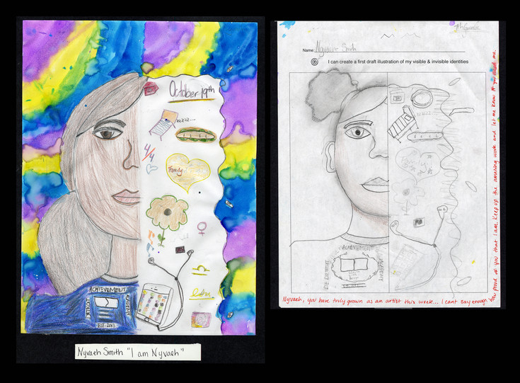 Creator: Nyvaeh Smith Project: Identity Creation Date: 2020 Medium: graphite, acrylic paint, color pencil and marker on paper Dimension: 17 x 11 inch School: Detroit Achievement Academy Grade: 6th-7th grade
