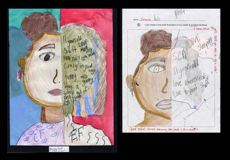 Creator: Eriana Fails Project: Identity Creation Date: 2020 Medium: graphite, acrylic paint, color pencil and marker on paper Dimension: 17 x 11 inch School: Detroit Achievement Academy Grade: 6th-7th grade