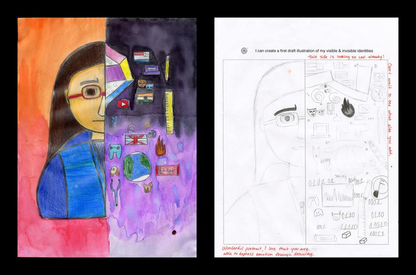 Creator: Leela Blackmon Project: Identity Creation Date: 2020 Medium: graphite, acrylic paint, color pencil and marker on paper Dimension: 17 x 11 inch School: Detroit Achievement Academy Grade: 6th-7th grade