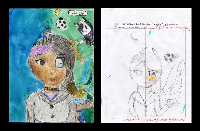 Creator: Sierra St. John Project: Identity Creation Date: 2020 Medium: graphite, acrylic paint, color pencil and marker on paper Dimension: 17 x 11 inch School: Detroit Achievement Academy Grade: 6th-7th grade