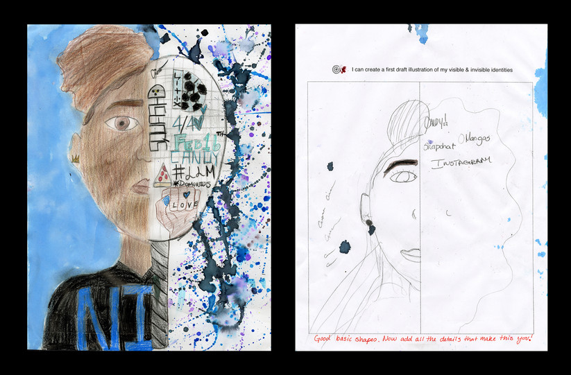 Creator: Ciara Shipp Project: Identity Creation Date: 2020 Medium: graphite, acrylic paint, color pencil and marker on paper Dimension: 17 x 11 inch School: Detroit Achievement Academy Grade: 6th-7th grade