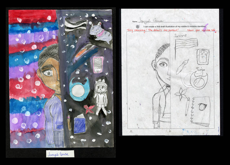 Creator: Janiyah Gause Project: Identity Creation Date: 2020 Medium: graphite, acrylic paint, color pencil and marker on paper Dimension: 17 x 11 inch School: Detroit Achievement Academy Grade: 6th-7th grade