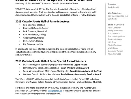 Ontario Sports Hall of Fame 2019 Inductees and Special Award Winners