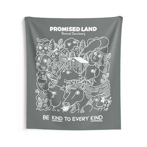 Wall Tapestry – Gray – Be Kind to Every Kind
