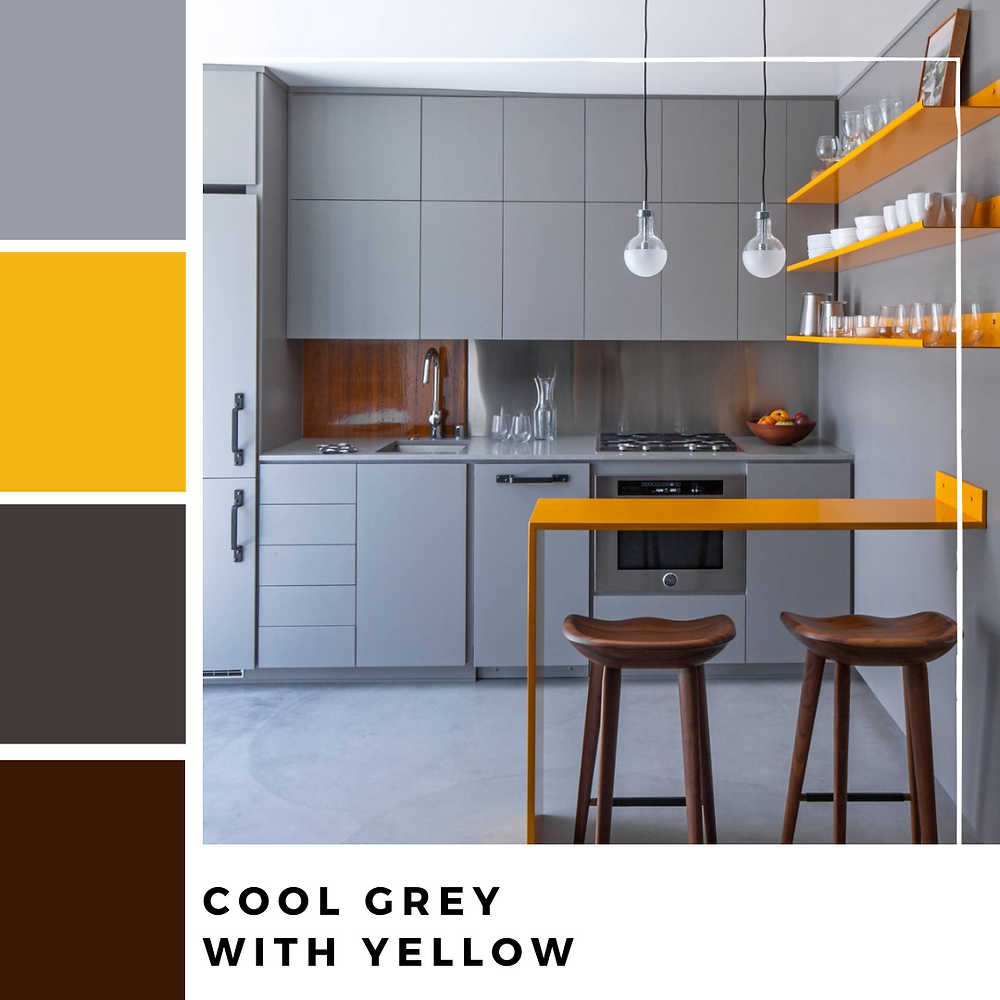 Cool Grey kitchen with Yellow splash