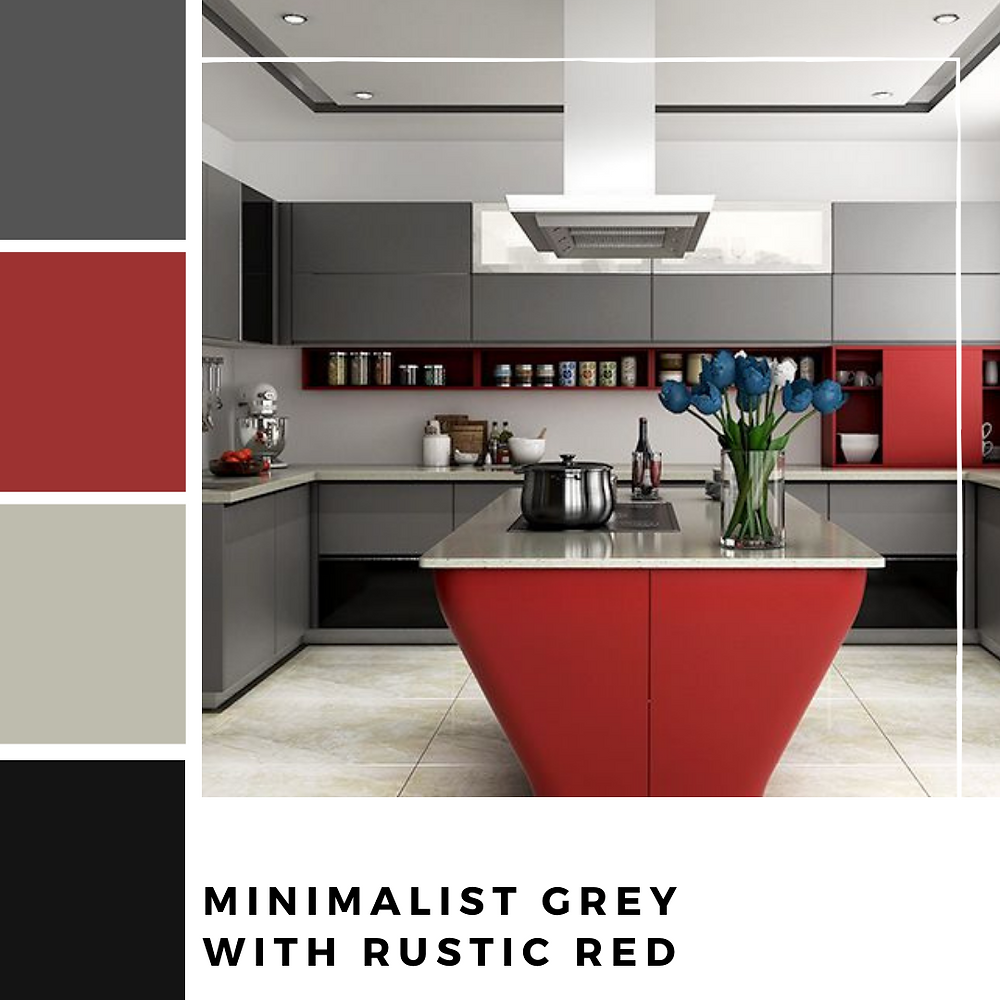 Minimalist Grey and  Red Kitchen