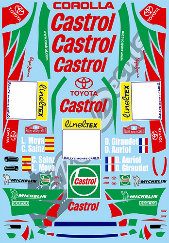 1/10 Decal Rally Set Toyota Corolla WRC 1998