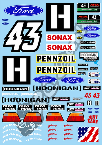 1/10 Decal Rally Set Ford Escort Cosworth - Ken Block's 2018 Livery