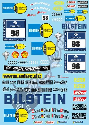 1/10 Touring Car Decal Sticker Bilstein Audi R8 98