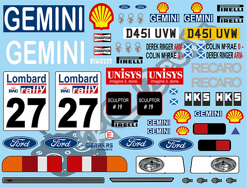 1/10 Decal Rally Ford Sierra Cosworth - Colin Mcrae 1987