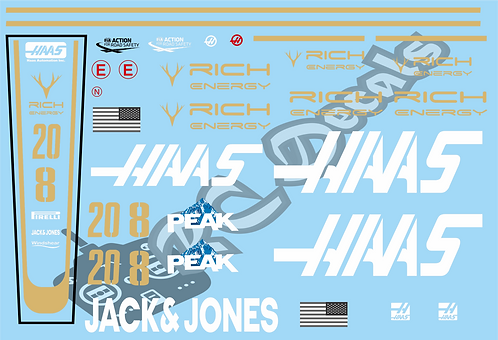 F1 1/10 Decal Set Haas F1 - VF-19 2019 - Choice of tyre logo