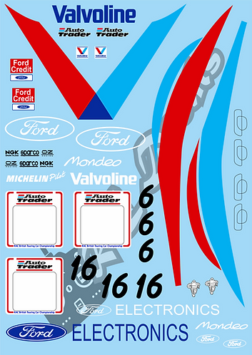 1/10 Touring Car Decal Sticker Set BTCC Ford Mondeo Valvoline 1996