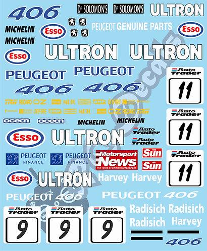 1/10 Touring Car Decal Sticker Set BTCC Peugeot 406 1998
