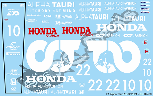 F1 1/10 Decal Alpha Tauri AT-02 2021 - Choice of tyre logo