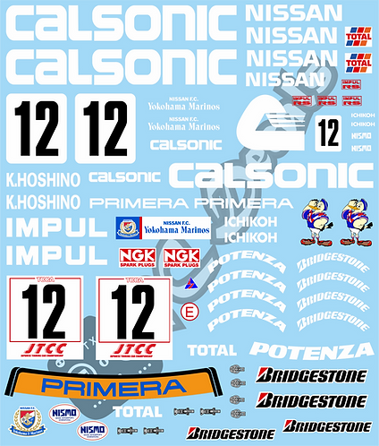 1/10 Touring Car Decal Sticker Set JTCC Nissan Primera - Calsonic 1994