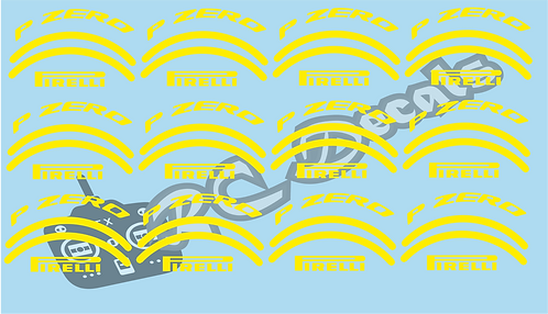 1/10 F1 Tires logos - Pirelli - Yellow - Soft