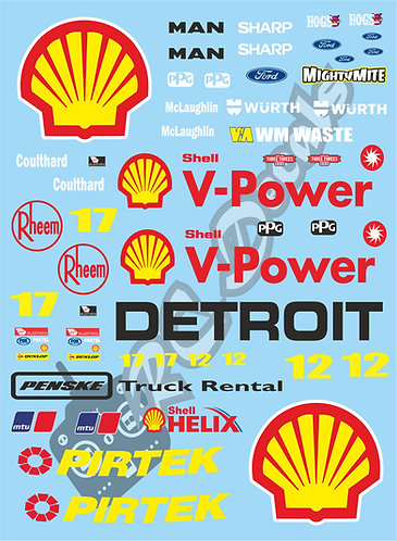 1/10 Touring Car Decal Sticker Set V8 Supercars Team-Penske Shell