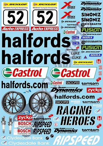 1/10 Touring Car Decal Sticker Set BTCC Team Halfords Honda Integra 2005